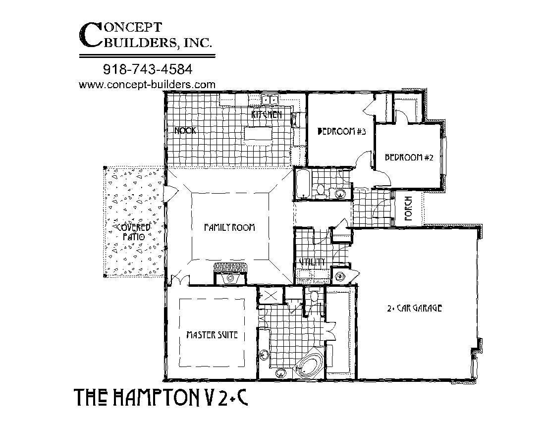 Hampton v 2c plus plan concept builders tulsa ok for Tulsa home builders floor plans