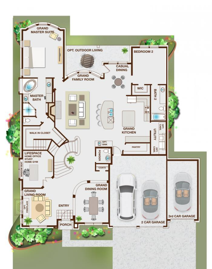 Grand homes grand emerald iii 3rd car garage estates for Emerald homes floor plans