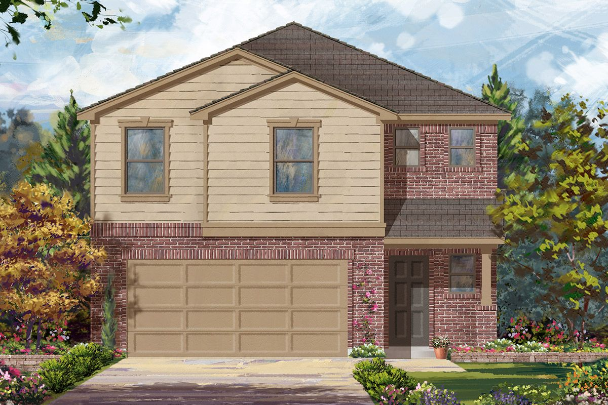 Kb home lancaster square plan 1864 1315937 cypress tx for Home elevation houston